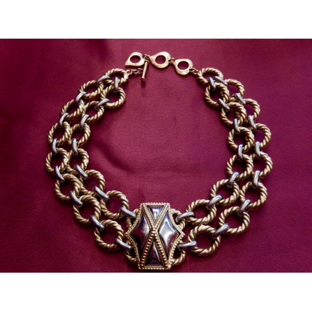Collier Yves Saint Laurent doré-argenté