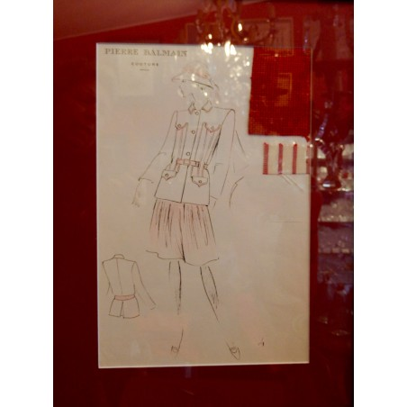 Gravure de mode Pierre Balmain Couture originale 80's