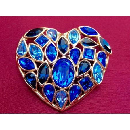 Broche pendentif Yves Saint Laurent par Goosens pierreries bleues