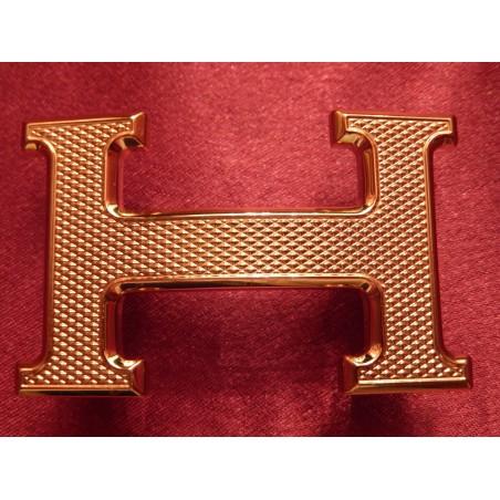 Boucle de ceinture Hermès guillochée plaquée or