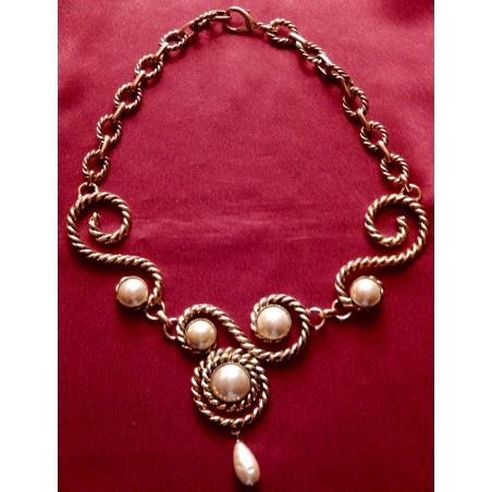 """Collier ras de cou ateliers Chanel """"Torsades et perles"""""""
