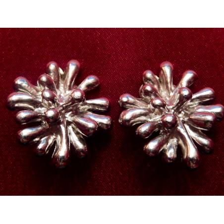 Boucles d'oreilles Christian Lacroix Anémones métal argenté
