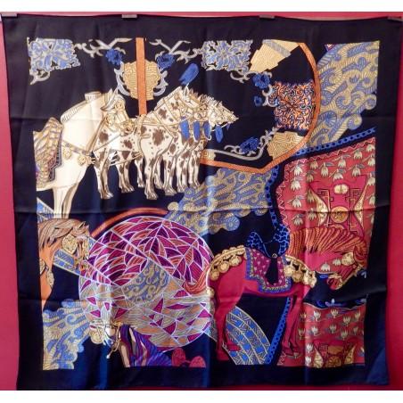 Carré foulard Hermès Art des steppes II détails