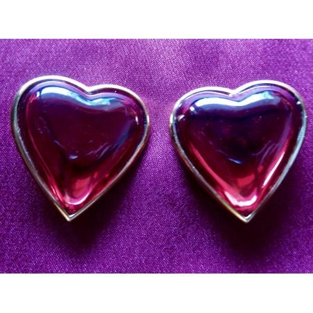 Boucles d'oreilles Yves saint Laurent Coeur rouge