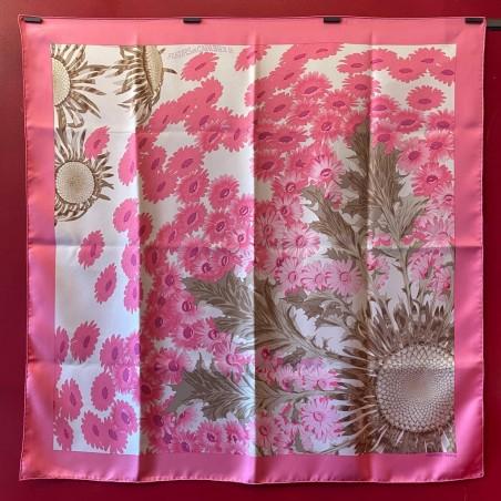 carré foulard Hermès Fleurs et carlines II (détail)
