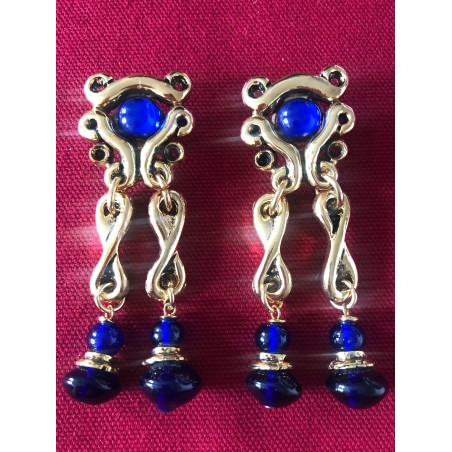 Grandes boucles d'oreilles baroques perles de verre bleu